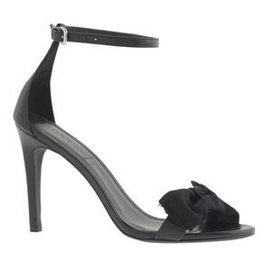 New J Crew Fabric bow leather high-heel sandals